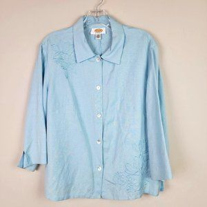 Talbots Woman Blue Floral Embroidered Shirt 12W